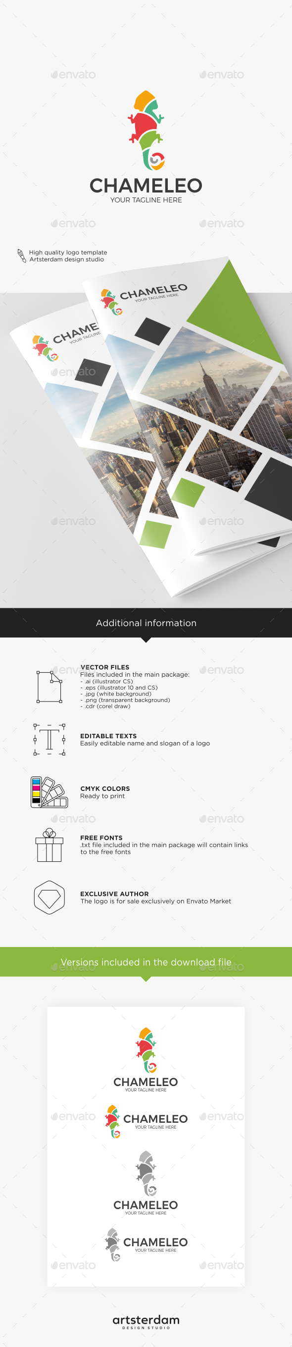 GraphicRiver Multicolored Chameleon Logo 20849053