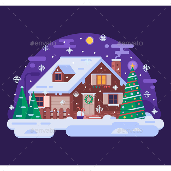 Christmas House by Snowy Winter Night - Christmas Seasons/Holidays