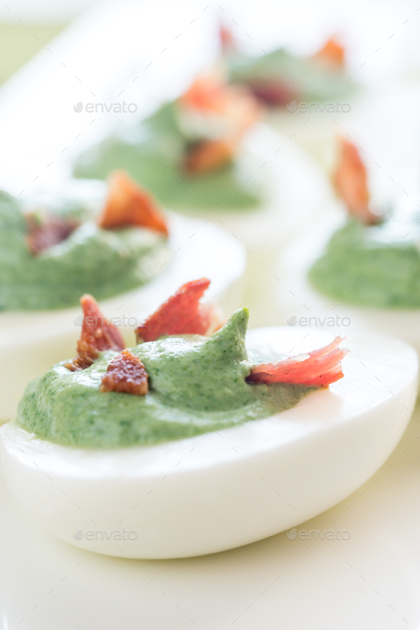 Spinach deviled eggs - Stock Photo - Images