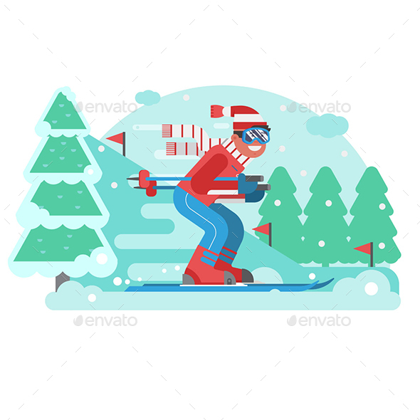 Mountain Skiing Man Riding on Winter Forest - Sports/Activity Conceptual