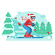 Mountain Skiing Man Riding on Winter Forest - GraphicRiver Item for Sale