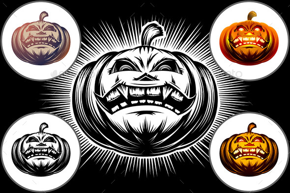 Halloween Pumpkin Cartoon Carved Eyes Mouth Icon Symbol Set - Halloween Seasons/Holidays