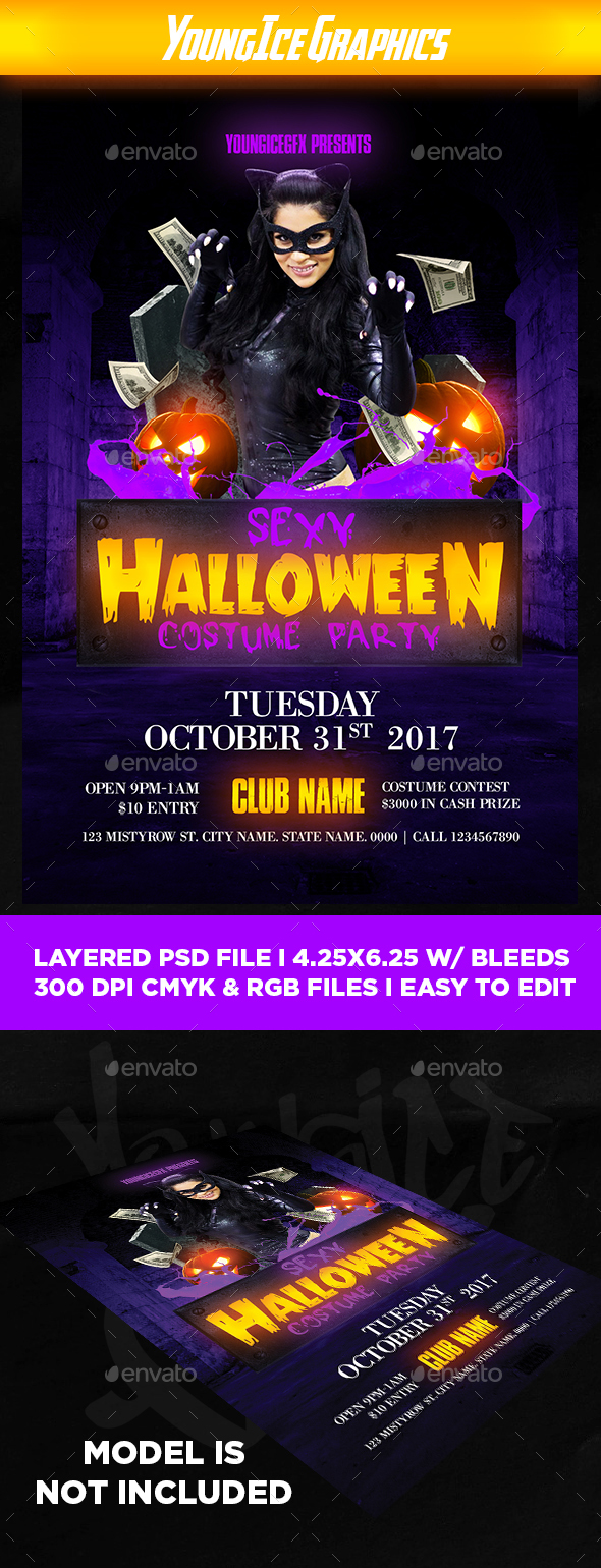 Sexy Halloween Costume Party Flyer - Clubs & Parties Events