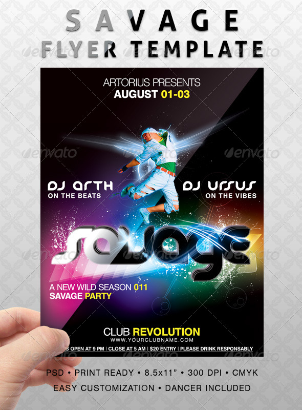 Savage Flyer Template - Clubs & Parties Events