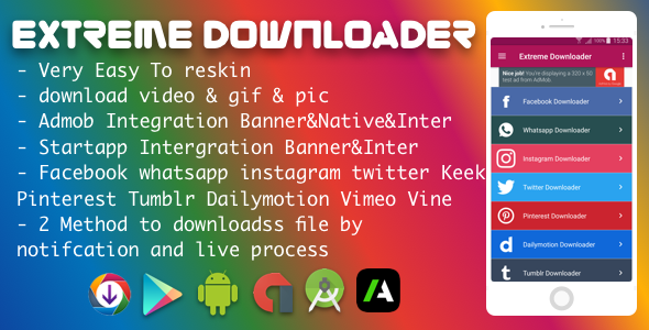 CodeCanyon Facebook Whatsapp Instagram Twitter Pinterest Dailymotion Tumblr Vimeo Vine Keek Downloader Pro 2018 20849845