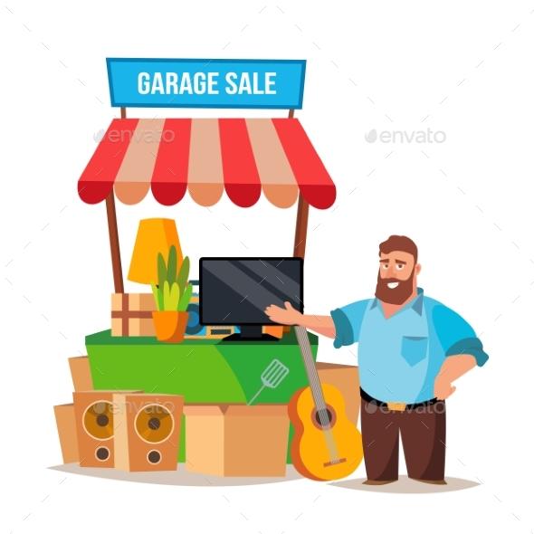Yard Sale Vector. Man Having A Garage Sale - People Characters