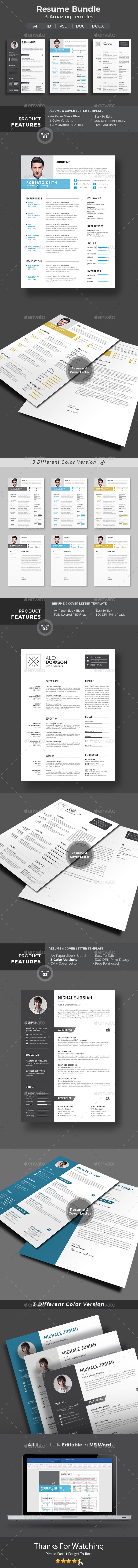 GraphicRiver Resume Word Bundle 20850263