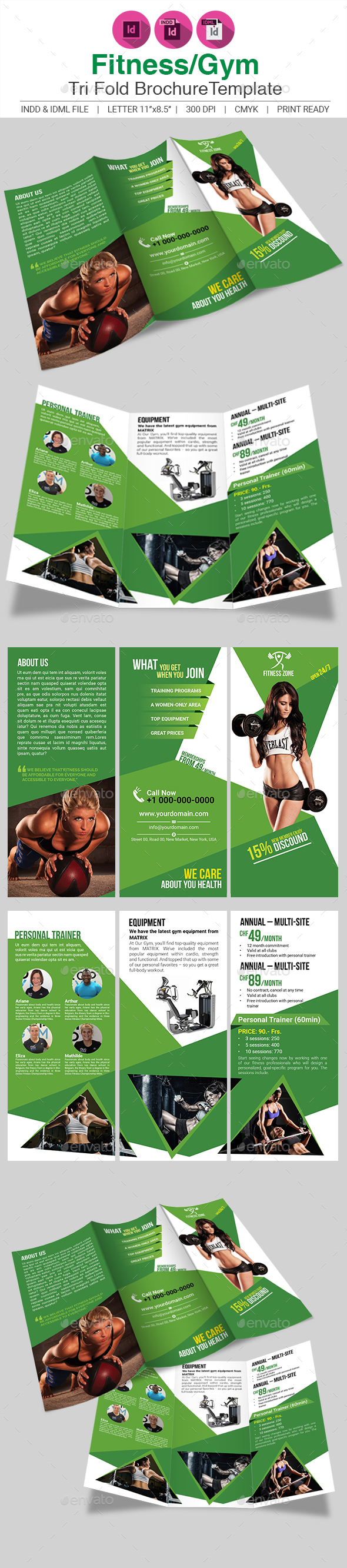 Fitness/Gym Tri-fold Brochure Template - Brochures Print Templates
