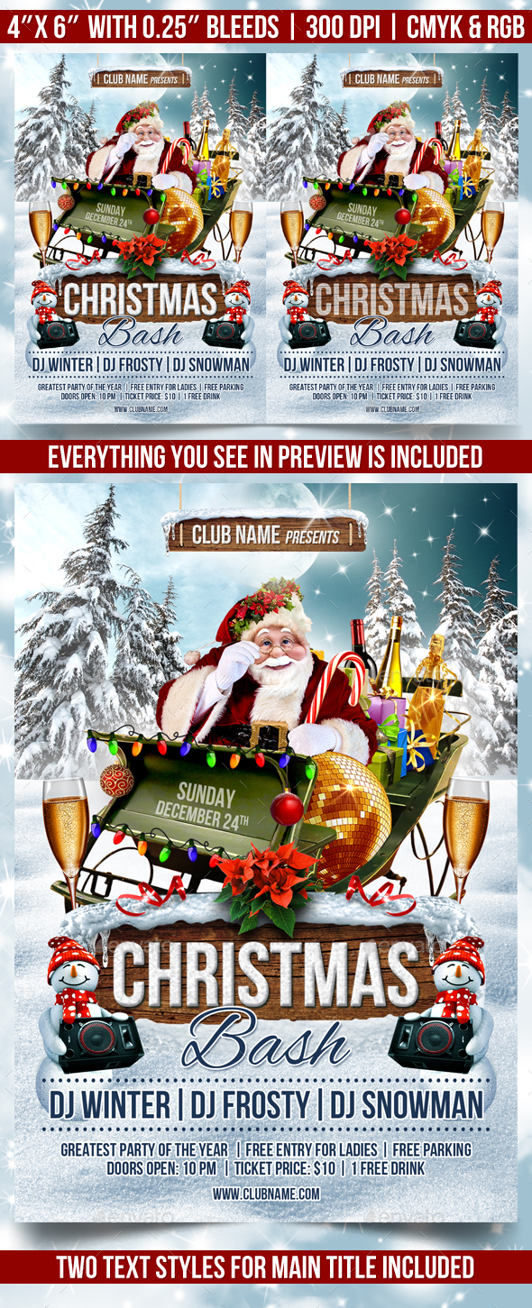 Christmas Bash Flyer Template - Clubs & Parties Events