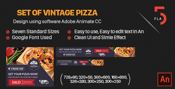 CodeCanyon Set of Vintage Pizza Banner HTML Software Adobe Animate CC 20850592