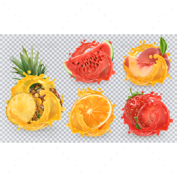 GraphicRiver Fresh Fruits And Splashes 20850624