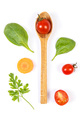 Fresh vegetables with spoon on white background, healthy food concept