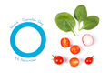 Blue circle as symbol of fighting diabetes and fresh vegetables, nutrition during disease concept
