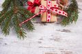 Wrapped gifts with ribbon and spruce branches for Christmas or Valentines