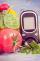Date 14 November, glucose meter for checking sugar level and vegetables - PhotoDune Item for Sale