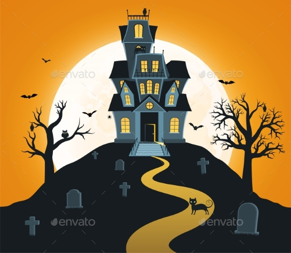 Halloween Background with Castle and Full Moon - Halloween Seasons/Holidays