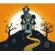 Halloween Background with Castle and Full Moon - GraphicRiver Item for Sale