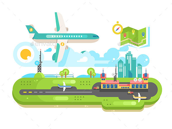 GraphicRiver Airport Building Infrastructure with Plane 20850978