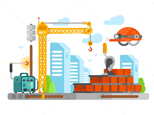 Construction Site Design with Bricks - Buildings Objects