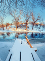 Beautiful bridge with water, snow, blue sky and branches. Winter