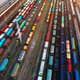Aerial view of colorful freight trains - PhotoDune Item for Sale