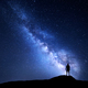 Milky Way and silhouette of alone man. Night landscape - PhotoDune Item for Sale