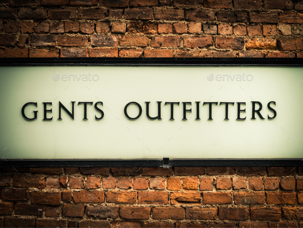 Vintage Gents Outfitters Sign - Stock Photo - Images