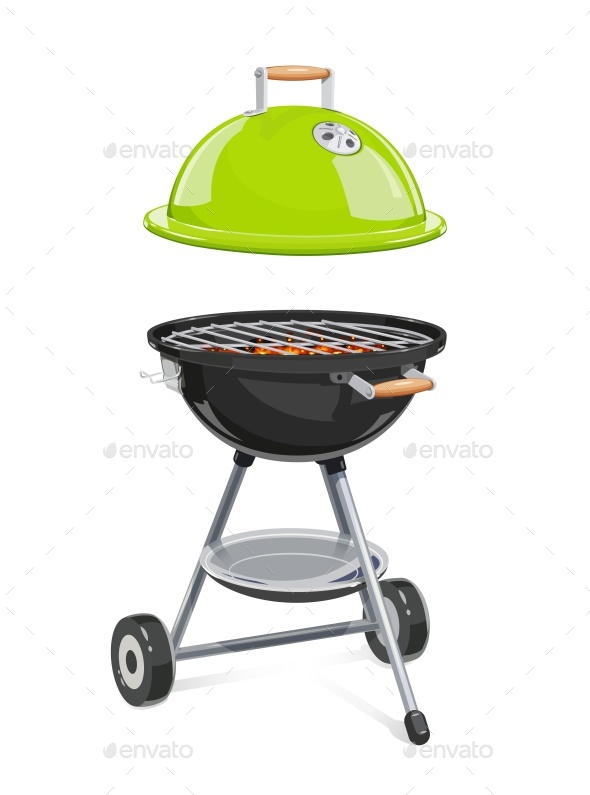 Kettle For Barbecue with Lid. - Vectors