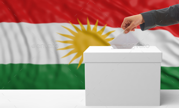 Woman's hand is voting with a waving Kurdistan flag background, 3d illustration - Stock Photo - Images