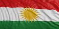 Kurdistan flag with its bright yellow sun. 3d illustration
