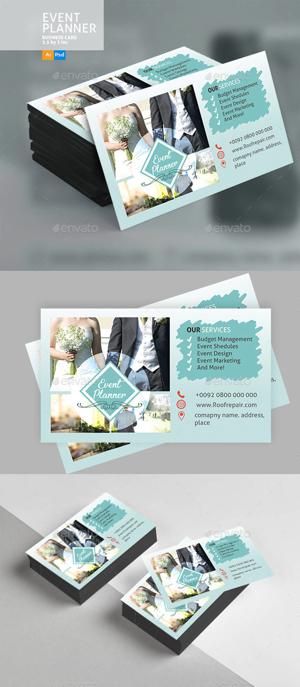 GraphicRiver Wedding Event Business Card 20851823