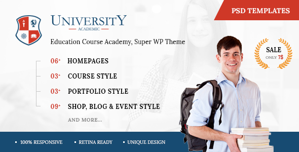 University - Education Course Academy PSD Templates