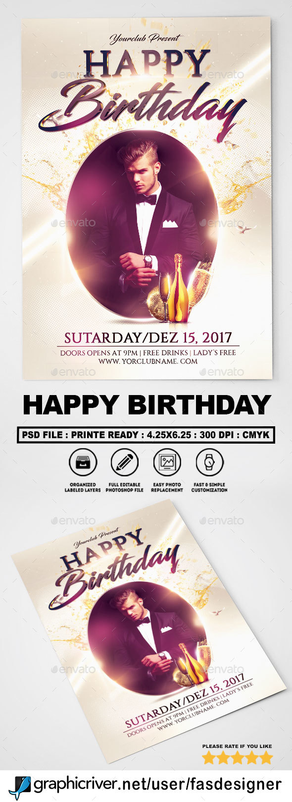 Happy Birthday Flyer - Clubs & Parties Events
