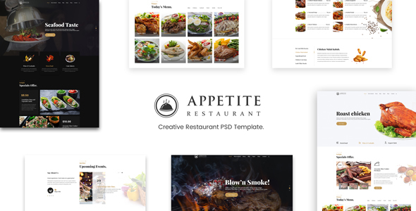 Appetite |  Restaurant & Cafe PSD Template - Food Retail