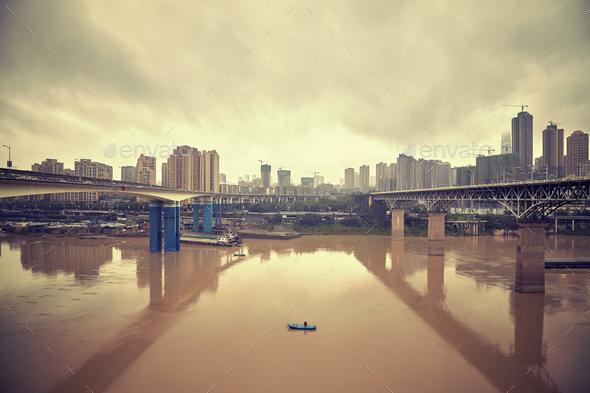 Chongqing waterfront, China. - Stock Photo - Images