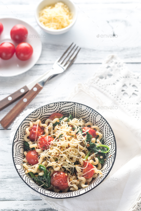 Pasta with spinach  - Stock Photo - Images