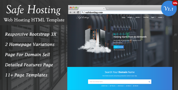 Image of Safe Hosting HTML Template