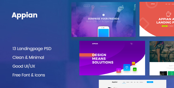 ThemeForest Appian Landing page PSD Template 20852850