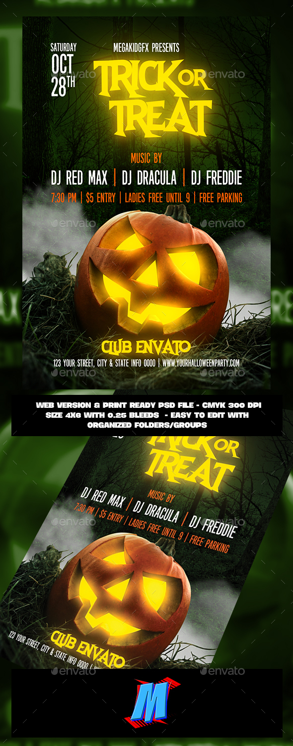 GraphicRiver Trick or Treat Flyer Template 20852891
