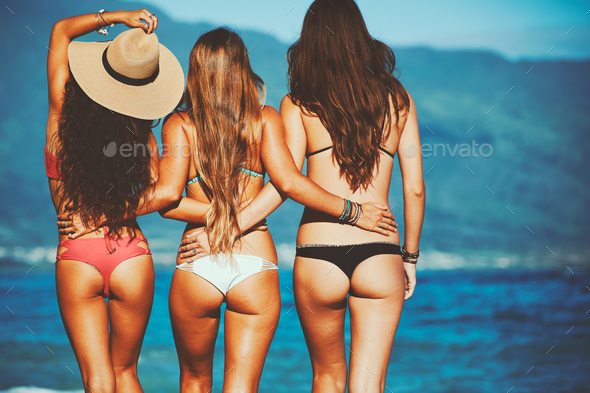 Beautiful Girls at the Beach - Stock Photo - Images