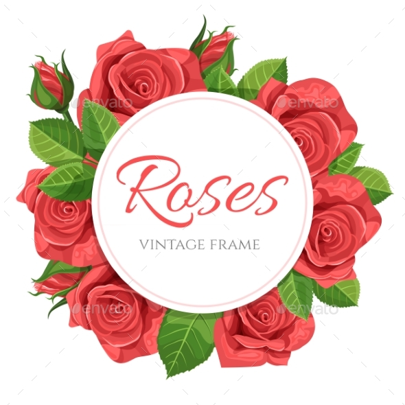 GraphicRiver Red Rose Vector Illustration Round Frame 20853000