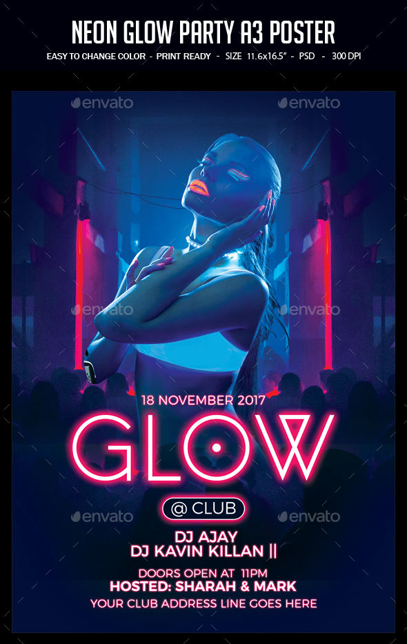 GraphicRiver Neon Glow Party A3 Poster 20853535