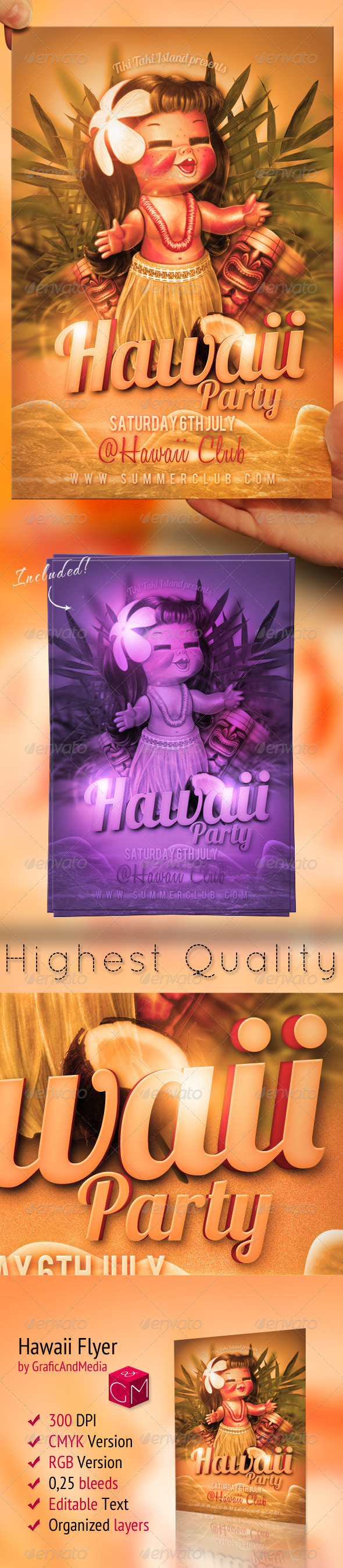 Hawaii Flyer Template - Clubs & Parties Events