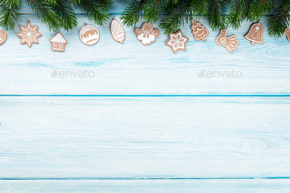 Christmas background with gingerbread cookies - Stock Photo - Images