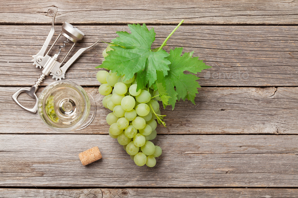 Wine glass and grapes - Stock Photo - Images