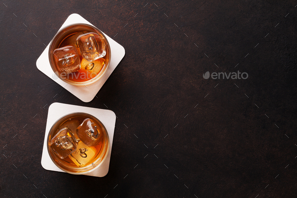 Whiskey with ice - Stock Photo - Images