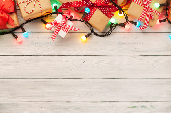 Christmas wooden background - Stock Photo - Images