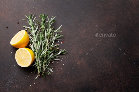Herbs and spices on stone table - Stock Photo - Images