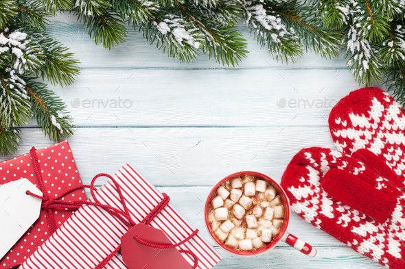 Christmas fir tree, gift boxes, hot chocolate - Stock Photo - Images