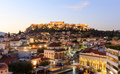 Athens, Greece. Acropolis rock and Monastiraki square early in the morning